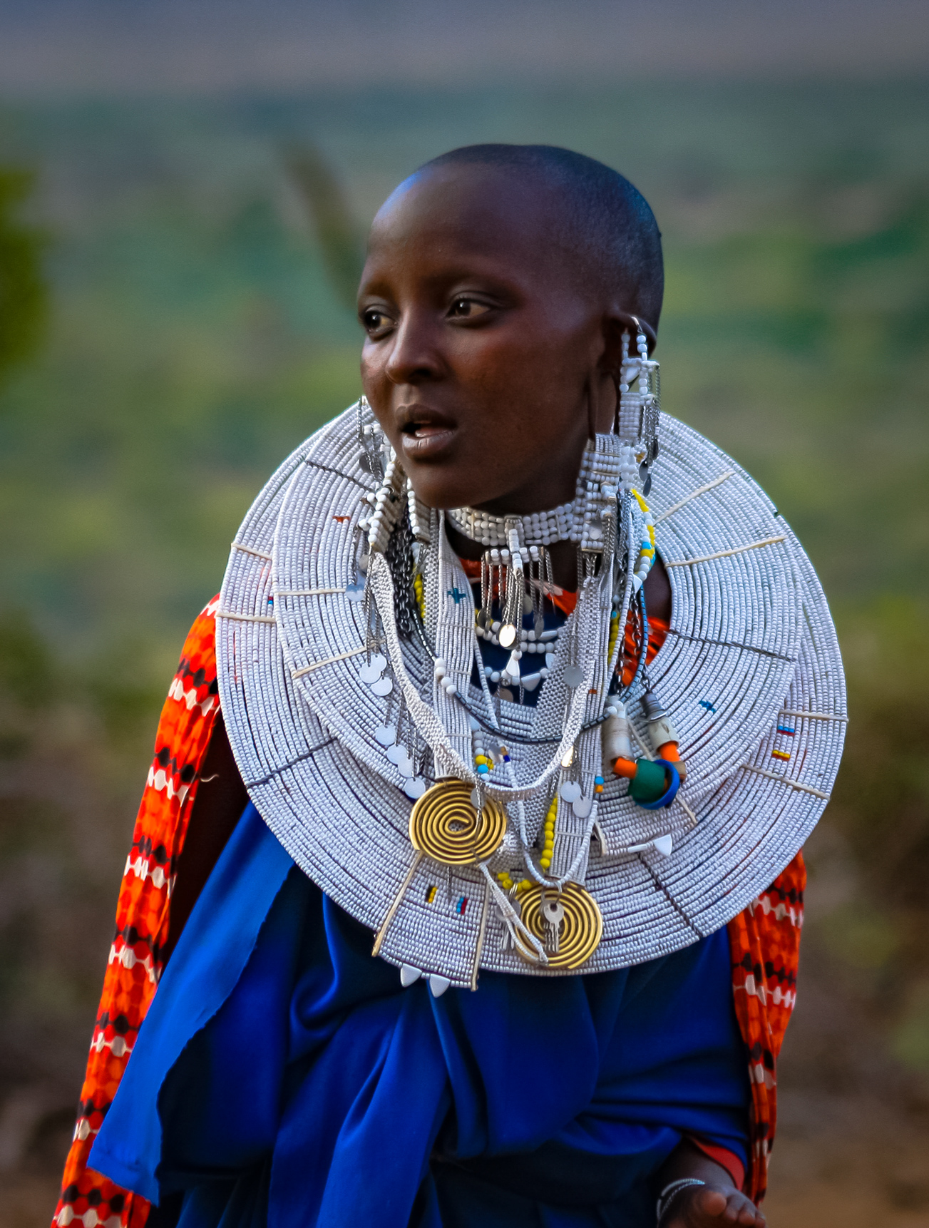 portrait of beautiful Masai women in full traditional dress in Tanzania Africa